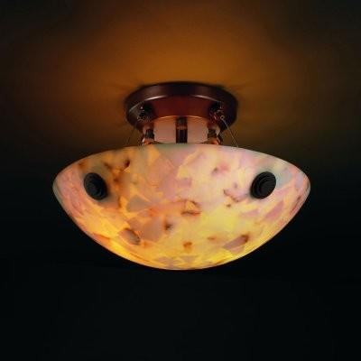 Justice Design Group Alabaster Rocks ALR-9650-35-DBRZ-F6 14 in. Semi-Flush Bowl modern-ceiling-lighting