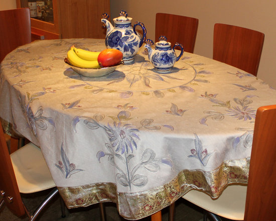 Dining Room Decor - Hand Painted Decorative Tablecloth from Banarsi Designs. Made in India