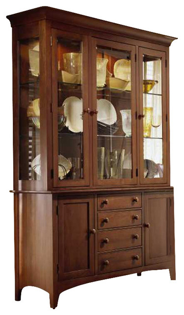 Kincaid Gathering House Solid Wood China Cabinet in Cherry - Transitional - Storage Cabinets ...