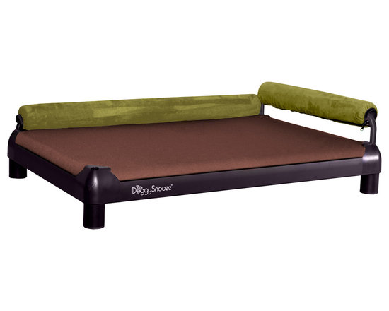 DoggySnooze - snoozeLounge, Anodized Frame, 2 Bolster Grn - Lucky dog, indeed! This so-comfy lounger boasts two bolsters to cradle your canine in luxury. Plus it comes in different sizes and heights to suit your particular pooch's preference.
