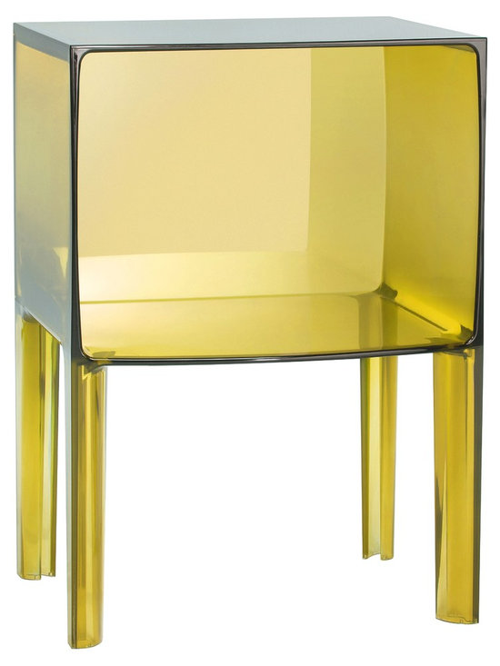 Nightstands and Bedside Tables: Kartell Small Ghostbuster Table - The Kartell small Ghostbuster table in Transparent Yellow from Stardust.com.  Designed by Phillippe Starck and Eugeni Quitllet, the Ghost Buster is the next generation of iconic ghost designs. This small table will look at home in any corner of the house, next to the bed, sofa or even in the bathroom. Available in completely transparent, colored or matte versions it is made of plastic and will complement any interior.  Nice when used as a bedside table, nightstand, living room side table or as a small bathroom organizer for towels and such.  Available from: http://www.stardust.com/smallghostbuster.html