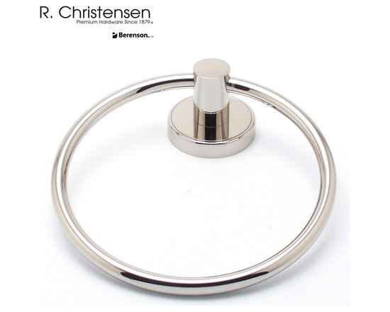2211US14 Polished Nickel Towel Ring by R. Christensen - 6-9/16 inch long contemporary style towel ring by R. Christensen in Polished Nickel.