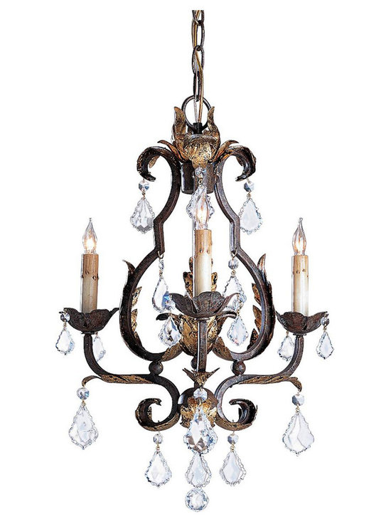 Kathy Kuo Home - Tuscan Elegant Swarovski Crystal 3 Light Chandelier - This diminutive chandelier commands a presence greater than its size with its lovely iron work and its rich Venetian Finish accented with hand applied Gold Leaf. Swarovski Crystals add their fire and brilliance to its elegant appearance.