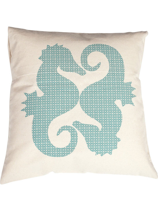 Jules Johnson Interiors Turquoise Geometric Seahorses Pillow Cover