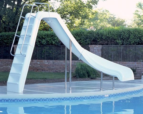 Inter-Fab Wild Ride Right Curve Complete Pool Slide - White - -Durable, Long Lasting Fiberglass Reinformcements