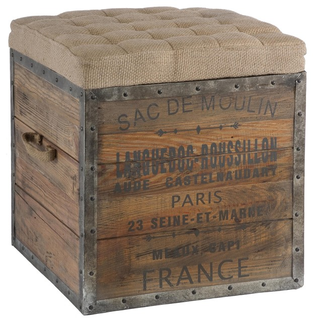 Aidan Gray Sac De Moulin Wooden Cube eclectic ottomans and cubes