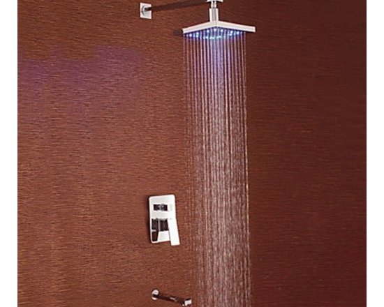 Shower Faucets - Contemporary Chrome Finish LED Wall Mount Shower Faucet with Square Showerhead--FaucetSuperDeal.com