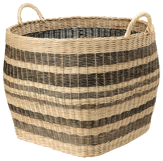 Striped Wicker Storage Basket - Contemporary - Baskets - other metro - by KOUBOO