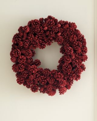 Red Pinecone Wreath contemporary-holiday-outdoor-decorations