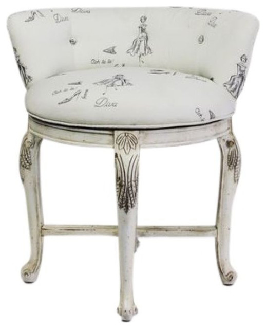 Vanity Chair in Diva Print Fabric - $500 Est. Retail - $250 on Chairish.com farmhouse-living-room-chairs