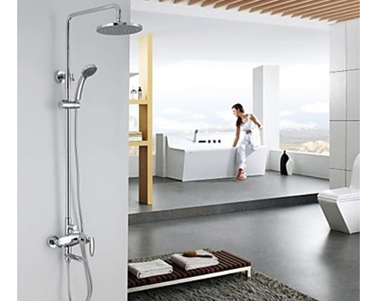 Shower Faucets - Contemporary Chrome Tub Shower Faucet with 8 inch Shower Head and Hand Shower-- FaucetSuperDeal.com