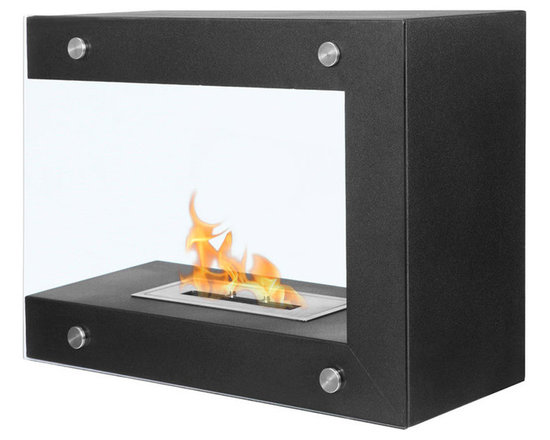 Moda Flame - Coria Freestanding Indoor-Outdoor Ethanol Fireplace - Coria's curious structure separates itself from conventional fireplace with it's funky geometric form of contemporary ethanol fireplace. With two tempered glass sheets which encase the flame, Coria works well against a wall, in a quiet corner, or as a subtle room divider.