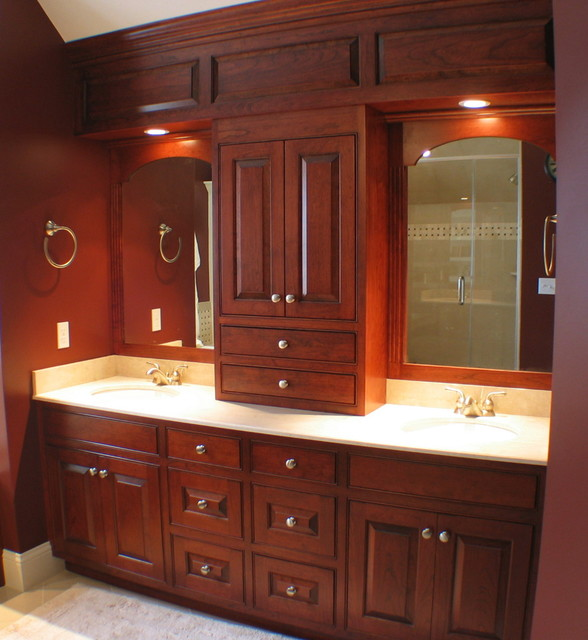 Cherry Bathroom with Paneled Soffit traditional-bathroom