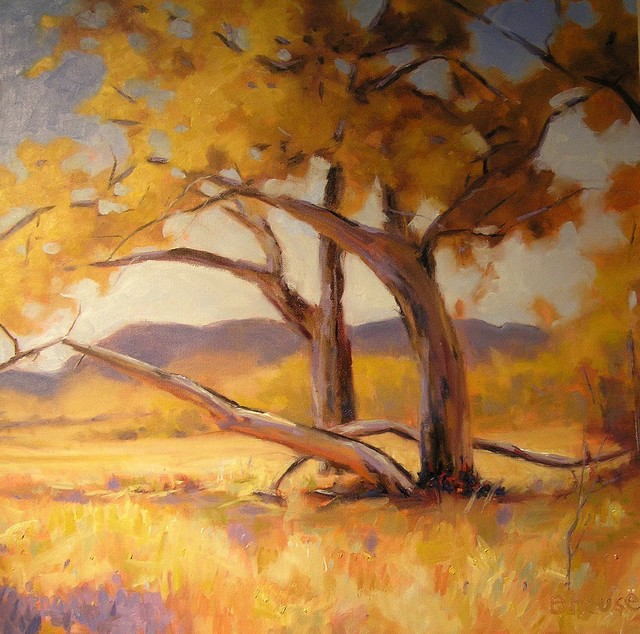 Indian Summer - large painting for living room traditional artwork