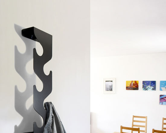 j-me Original Design - This uniquely formed coat rack saves space while providing a striking decorative accent. It's unobtrusive design makes it a perfect accessory for doorways and hallways. The Wave Coat Rack holds up to fifteen (15) coats & Jackets and includes two small shelf areas. The Wave is precision crafted of powder coated mild steel and is available in black, silver or white. It's the ideal place to hang your coat!