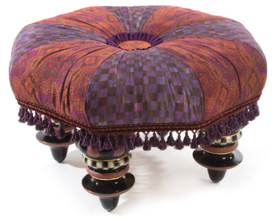 Bittersweet Setting Seat | MacKenzie-Childs - Part footstool, part seating, and all functional fun. Our Bittersweet Setting Seat is wrapped in alternating panels of rich Bittersweet plum-and-chocolate checks, and a robust tapestry of warm autumn tones. Each is accented with passementerie trim around the edges, and an embossed round leather thistle button with a ribbon ruffle at the center. Rests on majolica feet, handmade and decorated by our artisans in Aurora with Courtly Check and gold-lustre accents.