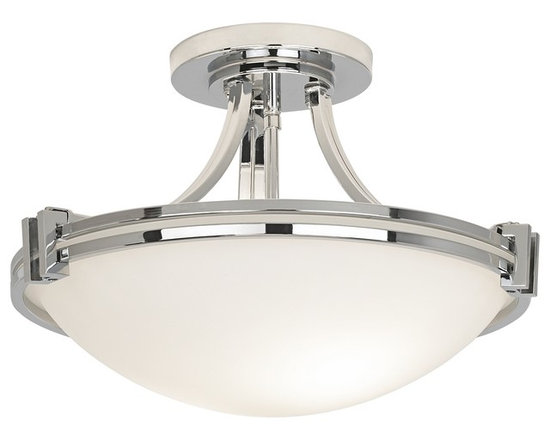 """Possini Euro Design - Possini Euro Design Chrome 16"""" Wide Ceiling Light Fixture - A sharp stylish chrome finished semi-flushmount ceiling light from the Deco Nickel Collection. Features a strong Art Deco influenced design with bands of chrome and white glass. A great look for any room in the home. From the Possini Euro Design Lighting Collection. Takes two 100 watt bulbs (not included). Measures 16"""" wide 12"""" high.  Chrome finish.  White glass.  Takes two 100 watt bulbs (not included).   16"""" wide.   12"""" high.  Canopy is 6 1/4"""" wide."""