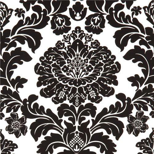 Michael miller fabric delovely damask black white fabric for Black and white fabric