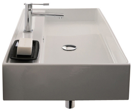 Rectangular White Ceramic Wall Mounted or Vessel Sink, Three Hole ...