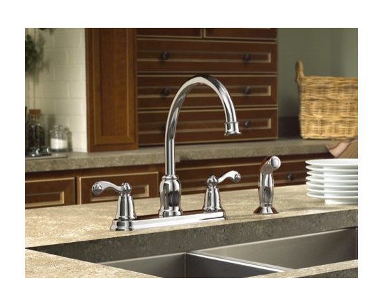 Moen Traditional Chrome two-handle high arc kitchen faucet - Moen Traditional collection offers timeless designs that will bring a sense of comfort and style to any home.