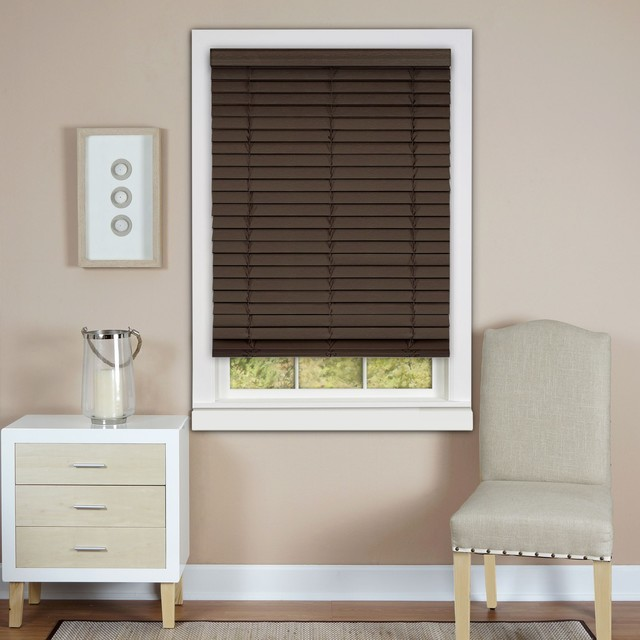 Cordless Madera Falsa 2 inch Faux Wood Plantation Blind