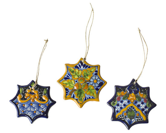 Native Trails - Talavera Snowflake Ornament (Set of 3) - Every one of our handpainted Talavera Snowflake Christmas Ornaments is as unique as the inimitable snowflake they portray. Each intricate design is painted by hand by our artisans, using traditional Talavera patterns that have been handed down from family member to family member through generations. Each ornament is then then twice fired to bring out the rich color and enhance the shine, making them a lasting Christmas tree ornament or thoughtful gift. Due to the hand-made nature of this piece, details of patterns and colors hues may vary, which makes each ornament a unique work of art.