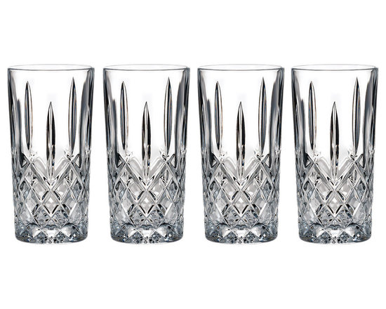 Waterford - Marquis by Waterford Markham Hiball Glasses (Set of 4) - Sophisticated with a refined air and quality technique,this beautiful tumbler set is crafted of lead-free crystalline with classic cut glass detailing. You are sure to impress your guests when you serve cocktails in these elegant highball glasses.