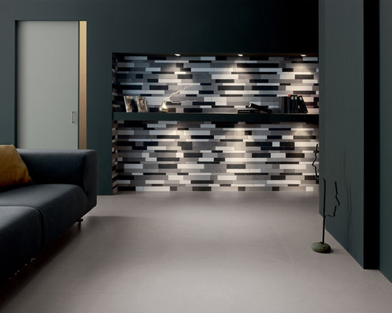 Mosaic Tile - This neutral floor tile is accented by a striking color blend mosaic on the wall.