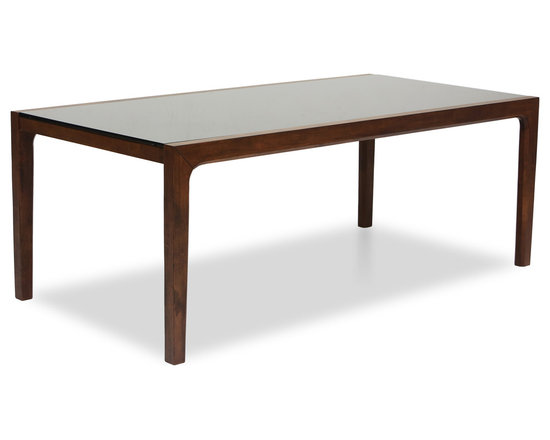Bryght - Cole Glass Cocoa Dining Table For 8 - The Cole glass dining table is a versatile and beautiful contemporary design. Built to last with sturdy solid oak legs and thick tempered glass top on a wooden base. Its delicately crafted wooden curves and N-shaped frame display its superb craftsmanship.