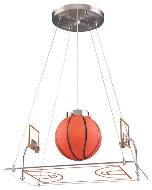 Basketball court pendant satin nickel eclectic kids for Hanging lights for kids room