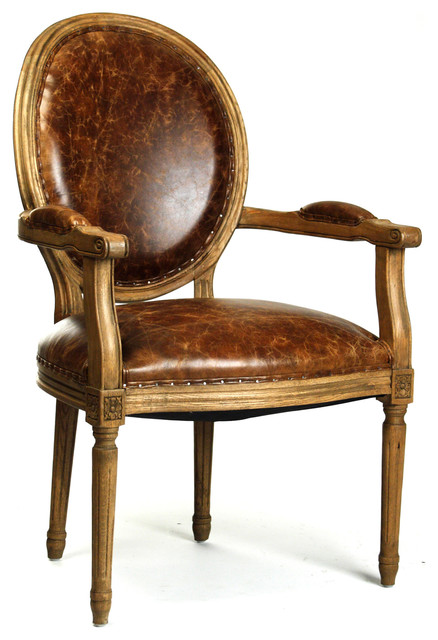 French Country Louis XVI Oval Back Leather Dining Arm  :  armchairs from www.houzz.com size 438 x 640 jpeg 73kB