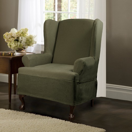 Carter Stretch Wing Chair Slipcover in Olive modern-living-room-chairs