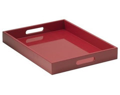 Small Rectangle Lacquer Tray, Cherry Red modern serveware