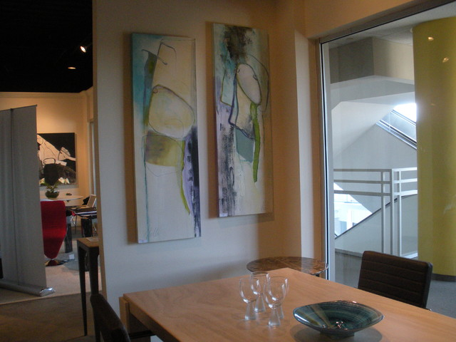 "Paintings- ""Aspect 1"" & ""Aspect 2""- 20"" x 59"" contemporary-dining-room"