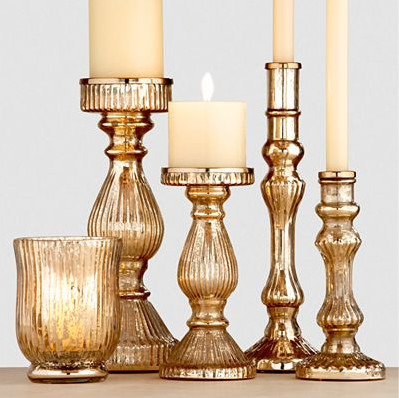 Gold Mercury Glass Candleholders - traditional - candles and