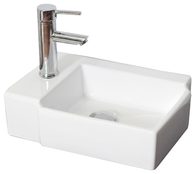 Above Counter Vessel Sink : American Imaginations Bathroom Above Counter Rectangle Vessel Sink in ...
