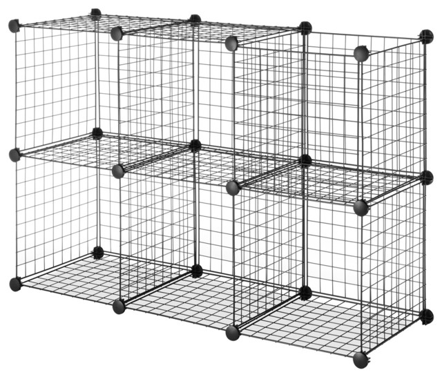 Black Steel Wire Storage Cubes Set Of 6 Contemporary Closet Organizers By Overstock Com