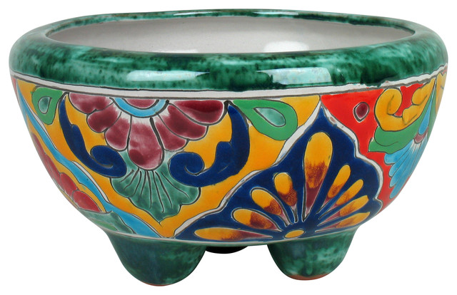 Small Mexican Talavera Footed Planter Rustic Home
