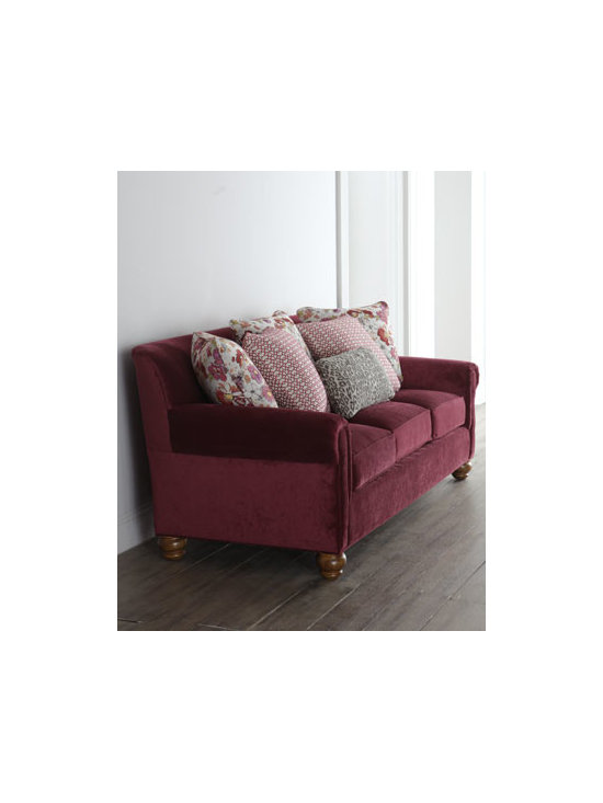 Horchow - Cortina Sofa - Add bold color to the room with this traditional three-cushion sofa. Mix in a variety of coordinating throw pillows and an unexpected animal-print kidney pillow, and you have the perfect spot for prolonged gatherings. Frame made of select hardwoods. P...