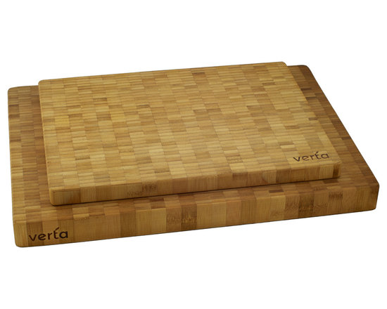 """Verta - Premium Bamboo End-Grain Chopping Blocks, Buy One Get One Free - Limited time offer - BUY ONE, GET ONE FREE! Practice safe food prep with two premium end-grain butcher blocks made of 100% FSC-certified, eco-friendly and sustainable Moso bamboo; End-grain chopping blocks are easier on knife edges; Super easy to clean, just use some warm soapy water and wipe clean; includes one(1) large board measuring 20"""" W x 14"""" L x 1.5"""" H and one(1) medium board measuring 16"""" W x 12"""" L x 1"""" H"""