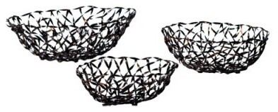 New Rustics Home Woven Accents - Decorative Metal Baskets - Set of 3 modern-serving-utensils