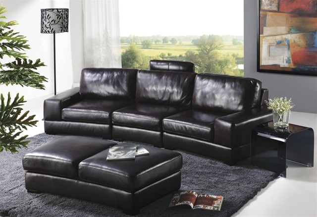 Avandi Black Leather Sofa Set Traditional Living Room Furniture Sets Minneapolis By