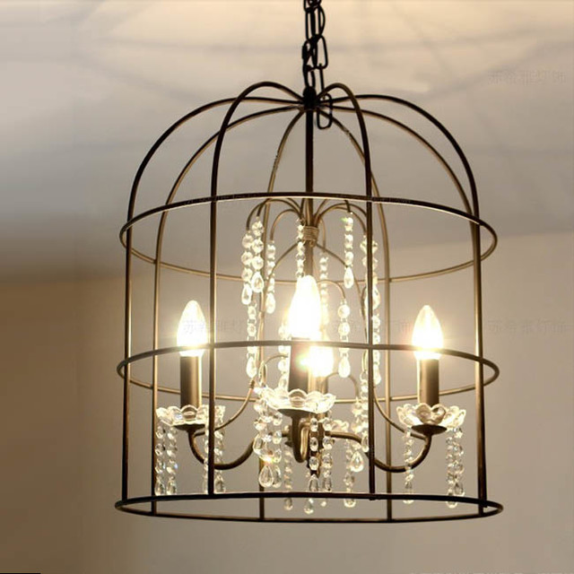 Country Iron Birdcage Crystal Pendant Lighting Rustic Pendant Lighting