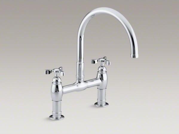 """KOHLER Parq(R) two-hole deck-mount kitchen sink faucet with 9"""" gooseneck spout a contemporary-kitchen-sinks"""