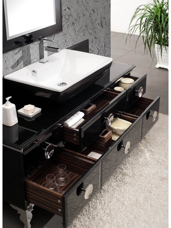 """Fresca Moselle 59"""" Bathroom Vanity - Fresca Moselle 59"""" Modern Glass Bathroom Vanity with Mirror is the epitome of luxury. This high quality Fresca vanity has a steel frame construction with a tempered glass exterior. The interior drawers are made from Macasser Ebony which gives it a classic, high end look. Many faucet styles to choose from."""