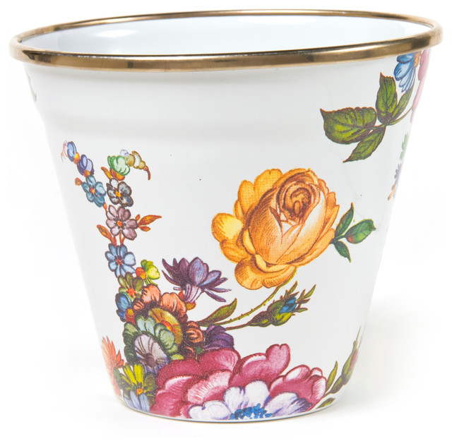 Flower Market Enamel Pot - White | MacKenzie-Childs eclectic-indoor-pots-and-planters