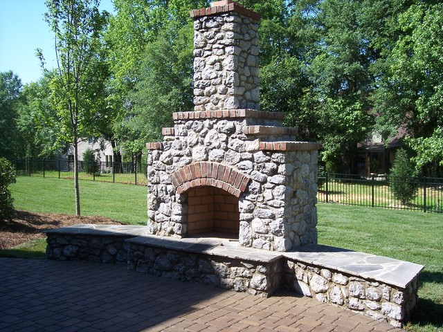 Natural Building Stones : Natural building stone with brick outdoor fireplaces