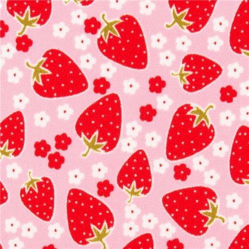 pink Michael Miller Polyurethane laminate fabric strawberry - Fabric - by ModeS Group Ltd