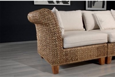 Hospitality Rattan Seagrass Modular Corner Section Chair with Cushions - Natural modern-living-room-chairs
