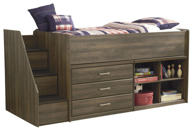 Ashley Loft Bed With Left Storage Steps And Loft Ends In Dark Brown Furniture By Bedroom